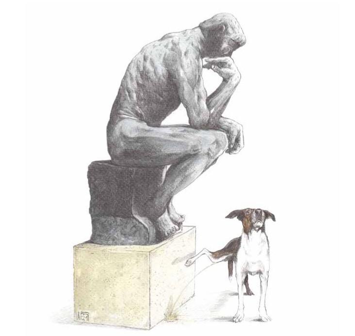 Dessin d'Arnaud Rafaelian, petit chien urinant sur le Penseur de Rodin